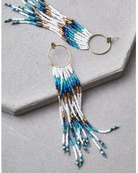 American Eagle - Gold & White Seed Bead Duster Earrings - Lyst