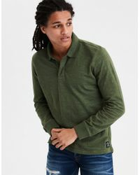 American Eagle - Ae Long Sleeve Slub Jersey Polo - Lyst