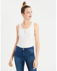 22e95f6a458 Lyst - American Eagle Ae Soft   Sexy Henley Tank Top in White