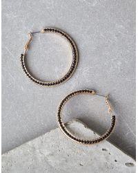 American Eagle - Gold Pavé Hoop Earrings - Lyst