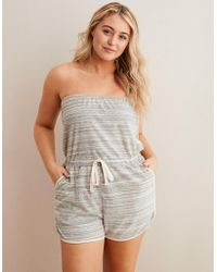 77be17db6490 Lyst - American Eagle Terry Romper in Pink