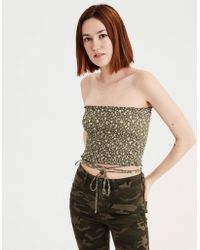 fafd2c6779 Lyst - American Eagle Ae Smocked Overlay Tube Top in Natural