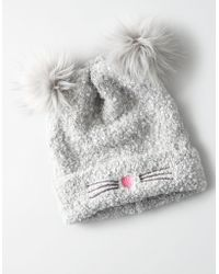 American Eagle - Double Pom Cat Beanie - Lyst
