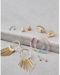 American Eagle - Gold Geo Earrings 6-pack - Lyst