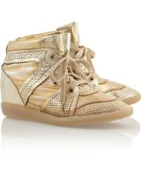 Isabel Marant Booper Metallic Leather Concealed Wedge Sneakers - Lyst