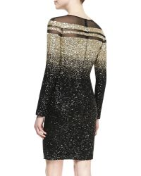 Pamella Roland Long-Sleeve Ombre Sequined Cocktail Dress - Lyst