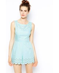 Ax Paris Scalloped Playsuit with Laser Cut Detail - Lyst