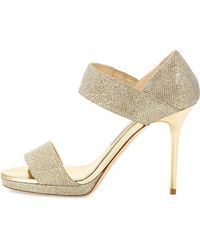 Jimmy Choo Alana Glitter Double-band Sandal - Lyst