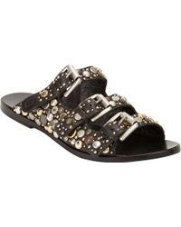 Collection Privée - Embellished Triple-Buckle Flat Sandals - Lyst