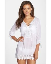 Amita Naithani - Beaded Lace Trim Tunic Cover-up - Lyst