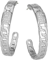 John Hardy Classic Chain Silver Diamond Pave Medium Hoop Earrings - Lyst