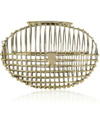 Anndra Neen - Gold and Silvertone Oval Cage Clutch - Lyst