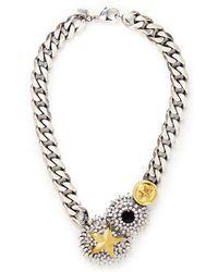 Iosselliani Flower Badge Medallion Curb Chain Necklace - Lyst