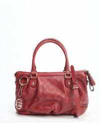 Gucci Red Ssima Leather Top Handle Tote - Lyst