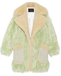 Coach Fluff Shearling-Trimmed Faux Fur Coat - Lyst