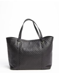 Gucci Black Leather Ssima Top Handle Tote Bag - Lyst