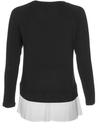 Rebecca Taylor   black Exclusive Long Sleeve Jersey Pleated Hem Top   Lyst