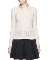 Alice + Olivia | 'tamsin' Detachable Jewelled Collar Cable Knit Sweater | Lyst