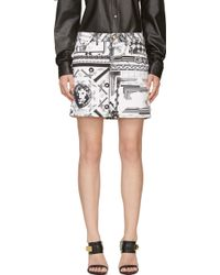 Versus  White and Black Mixed Print Skirts - Lyst