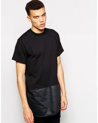 The Ragged Priest - Longline T-shirt With Satin Back Hem - Lyst