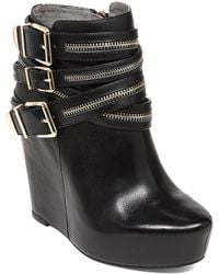 BCBGeneration Anders Leather Zip Wedge Booties - Lyst