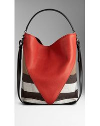 Burberry Medium Canvas Check Leather Chevron Hobo Bag - Lyst