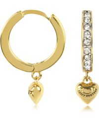 Juicy Couture - Stone and Heart Huggie Earring - Lyst