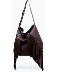 Zara Leather Bucket Bag with Fringes - Lyst