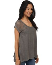 DKNY Lace Pieced Cold Pigment Sharkbite Top - Lyst