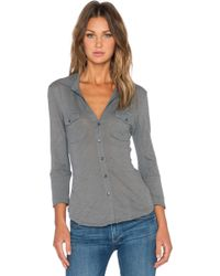 James Perse Contrast Panel Button Up gray - Lyst
