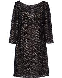 Diane von Furstenberg Wide Neckline Black Short Dress - Lyst