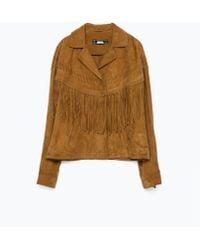 Zara Fringed Suede Jacket brown - Lyst