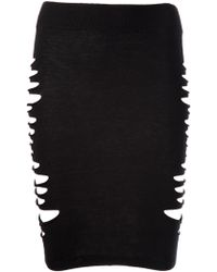 McQ by Alexander McQueen Slash Knit Skirt - Lyst