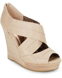 Seychelles Risky Business Leather Wedge Sandals beige - Lyst