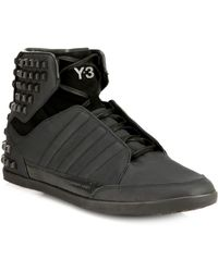 Y-3 Honja Studded Leather High-Top Sneakers - Lyst