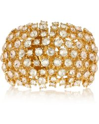 Alexander McQueen Gold Plated Swarovski Crystal Cuff - Lyst