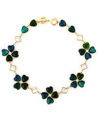 Yves Saint Laurent Vintage Gold-Toned Clover Necklace - Lyst