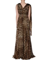 Dolce & Gabbana Khaki Long Dress - Lyst