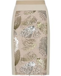 BCBGMAXAZRIA Aideen Fan Sequin Pencil Skirt - Lyst