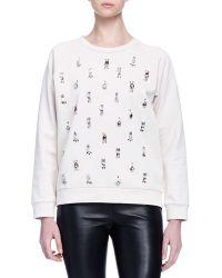 Lanvin - Crystal-Embroidered Jersey Sweatshirt - Lyst