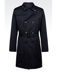 Armani Double-Breasted Trench In Technical Fabric - Lyst