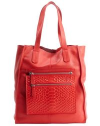 L.a.m.b. Red Leather Beulah Ii Zip Pouch Tote Bag - Lyst