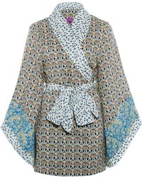 Liberty - Green Mauverina And Tatum Cotton Kimono - Lyst
