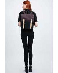 Deena & Ozzy - Colourblock Square Backpack In Maroon And Navy - Lyst