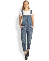 Current/Elliott The Ranchhand Printed Denim Overalls - Lyst