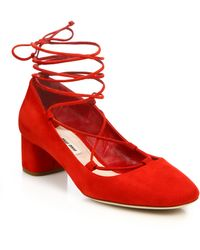 Miu Miu | Suede Lace-up Block-heel Pumps | Lyst