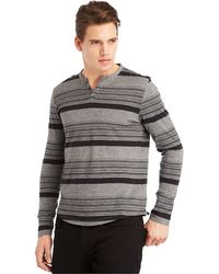 Kenneth Cole Reaction Y-neck Striped Henley - Lyst