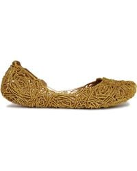 Melissa Campana Fitas Gold Glitter Flat Shoes - Lyst