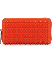 Christian Louboutin Panettone Spiked Zip Wallet Orange - Lyst
