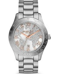 Michael Kors Ladies Layton Stainless Steel And Glitz Watch - Lyst